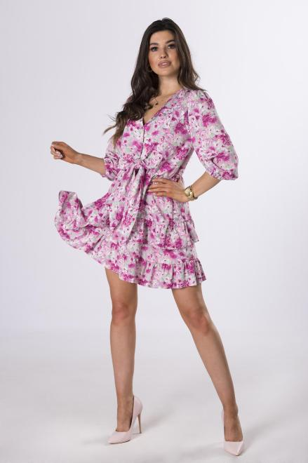 MERSI  sukienka w kwiaty z falbanami M83789 Платье Multikolor оптом