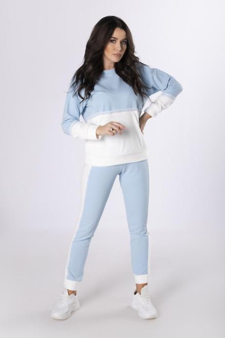 M&M  dwukolorowy dres z koronką M83777 Трикотажные брюки Голубой оптом