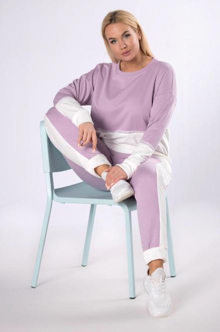 M&M  dwukolorowy dres z koronką M83777 Трикотажные брюки Фиолетовый оптом
