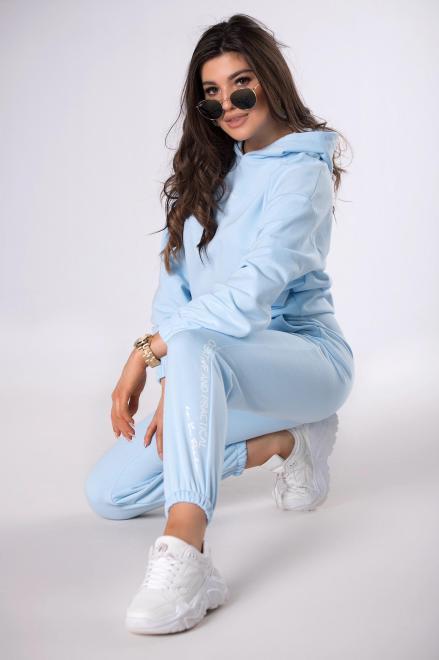 LA PERLA  bawełniany dres z napisem M83685 Трикотажные брюки Голубой оптом