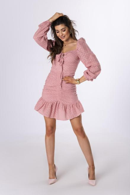 LA PERLA  ażurowa sukienka ze ściągaczem M83683 Платье Розовый оптом