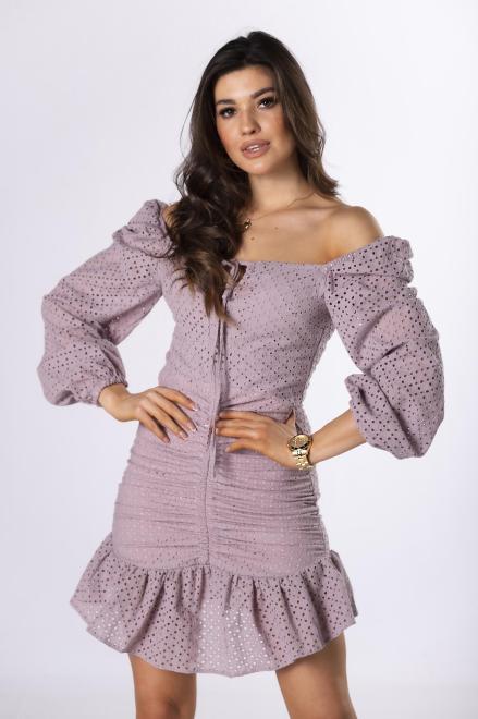 LA PERLA  ażurowa sukienka ze ściągaczem M83683 Платье Фиолетовый оптом