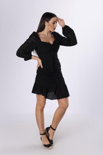 LA PERLA  ażurowa sukienka ze ściągaczem M83683 Платье Черный оптом