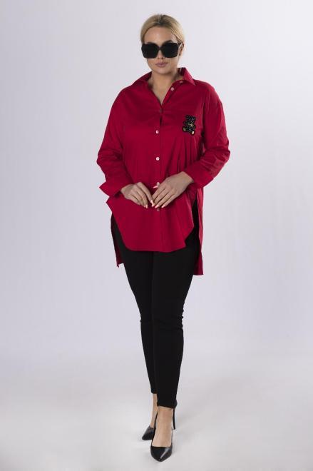 MONIKA  długa koszula z aplikacją M83828 Блузка Красный оптом