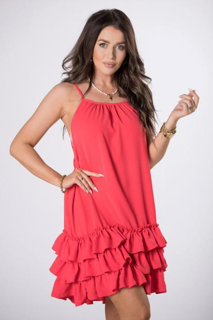OOH LA LA  trapezowa sukienka na ramiączkach M80524 Платье Красный оптом