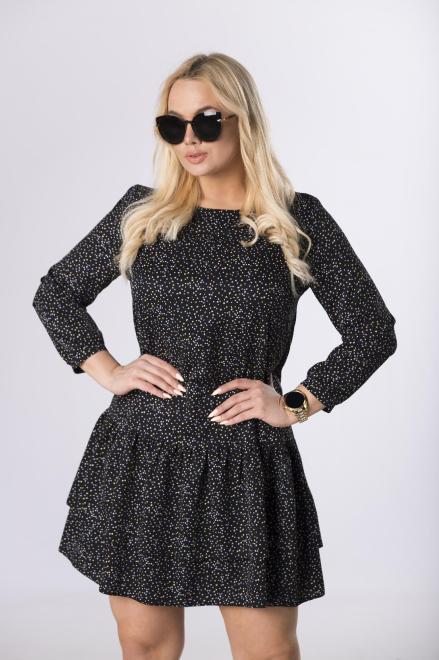 BB  sukienka z falbankami u dołu M83674 Платье Черный оптом