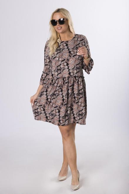 BB  wzorzysta sukienka z odcięciem w pasie  M83676 Платье Черный оптом
