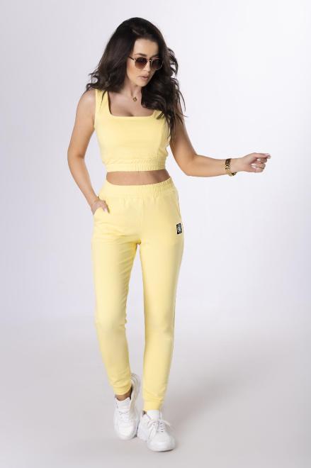 BICOTONE  dresowy komplet z krótkim topem M83883 Трикотажные брюки Желтый оптом