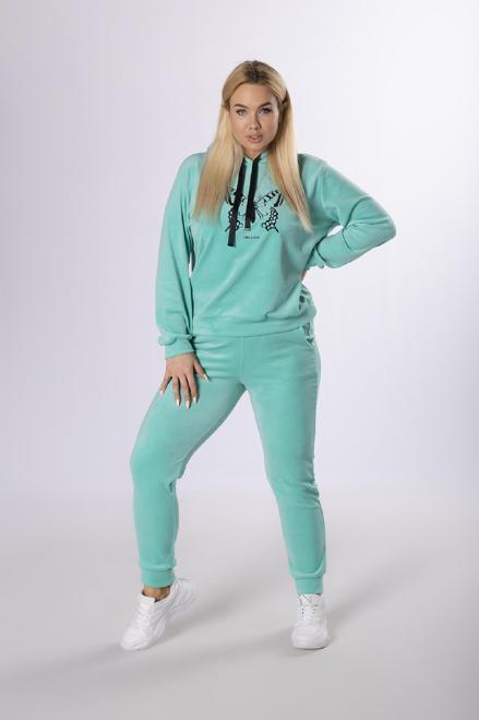 IWA  welurowy dres z aplikacją M83858 Трикотажные брюки Зеленый оптом
