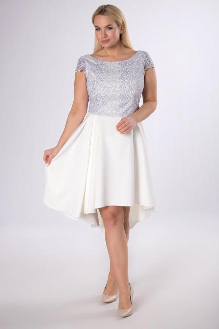 VEGAS  sukienka z gipiurą i wydłużonym tyłem M83417 Платье Кремовый оптом
