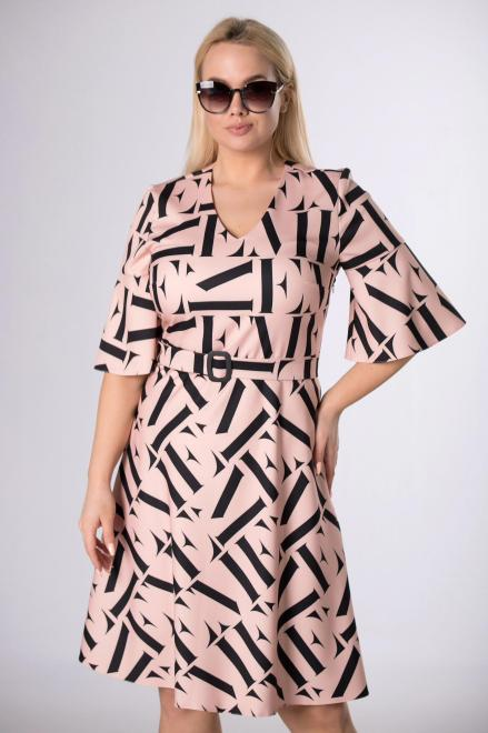 MODA DOROTHY  rozkloszowana sukienka z paskiem M83813 Платье Бежевый оптом