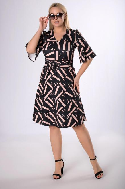 MODA DOROTHY  rozkloszowana sukienka z paskiem M83814 Платье Черный оптом