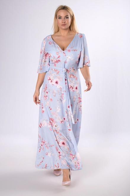 MARTEX  wzorzysta sukienka maxi z wiązaniem w pasie M80531 Платье Серый оптом