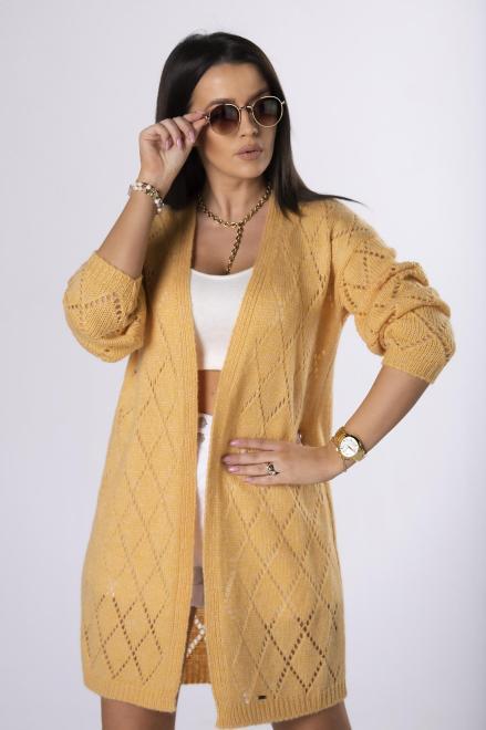 NATI  ażurowy sweter  M83879 Свитер Желтый оптом
