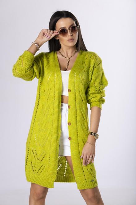 NATI  ażurowy sweter z guzikami M83877 Свитер Зеленый оптом
