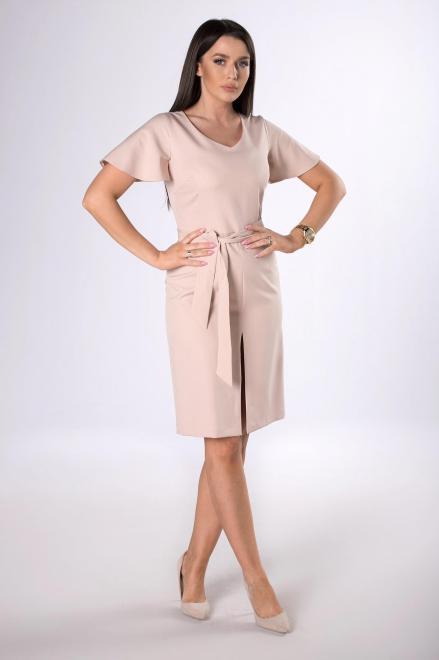 DARTEX  ołowkowa sukienka z rozcięciem M83721 Платье Бежевый оптом