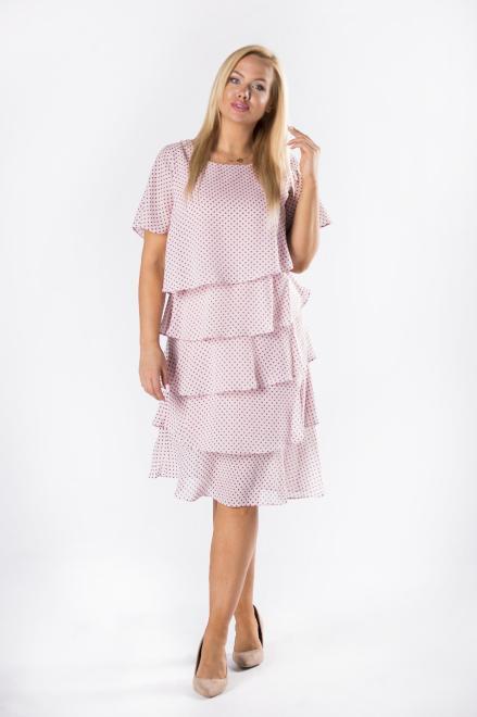 LA TOYA  szyfonowa sukienka z asymetrycznymi falbanami M78236 Платье Розовый оптом