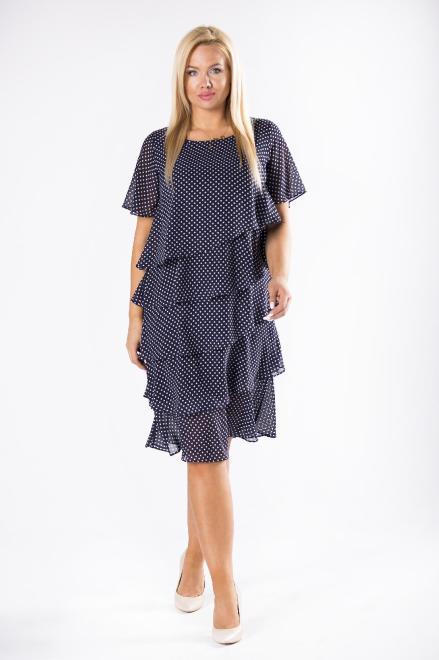 LA TOYA  szyfonowa sukienka z asymetrycznymi falbanami M78236 Платье Темносиний оптом