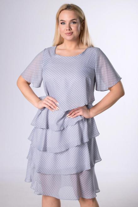 LA TOYA  szyfonowa sukienka z asymetrycznymi falbanami M78236 Платье Серый оптом