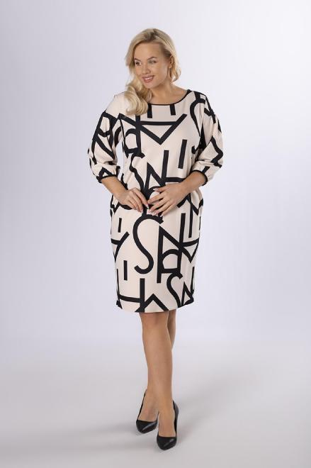 BESQUAR  sukienka z graficznym printem M83942 Платье Бежевый оптом