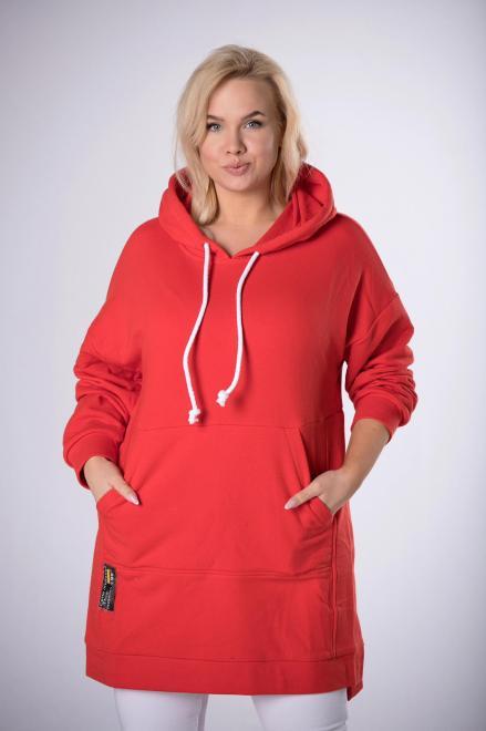 ROXANA  bluza kangurka o przedłużonym kroju M83984 Блуза Красный оптом