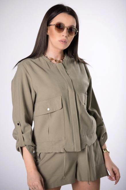 DOMINO STYL  bluza z trokami ściągającymi  M83954 Блуза Зеленый оптом
