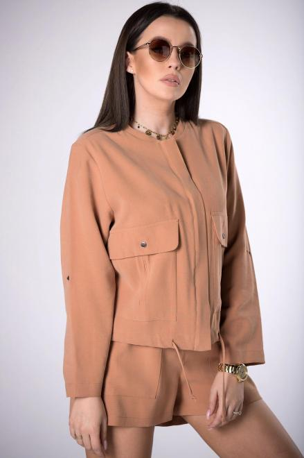 DOMINO STYL  bluza z trokami ściągającymi  M83954 Блуза Коричневый оптом