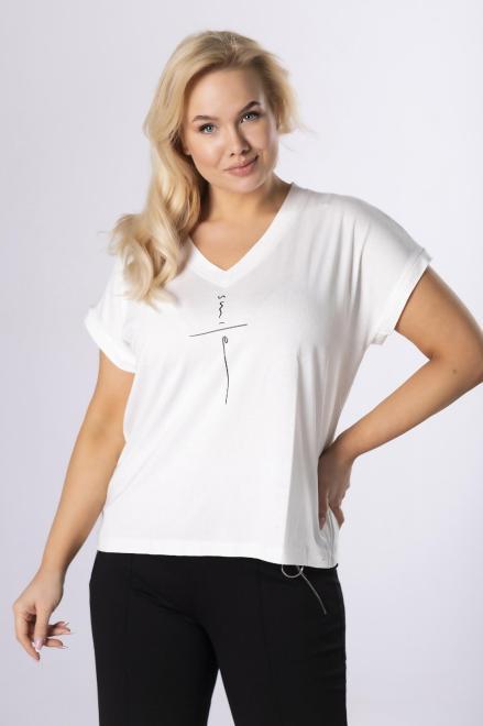 ROXANA  t-shirt z nadrukiem M83987 Блузка Кремовый оптом