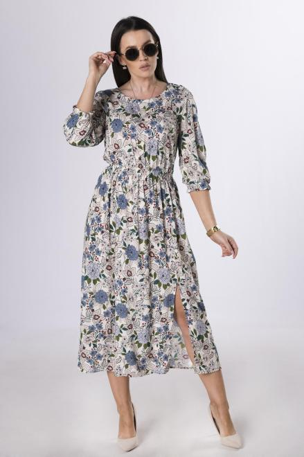 KMX FASHION  sukienka midi z gumką w pasie M83960 Платье Кремовый оптом