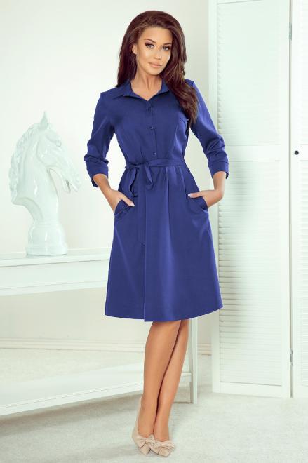 Numoco  rozkloszowana sukienka szmizjerka z paskiem M83841 Платье Голубой оптом