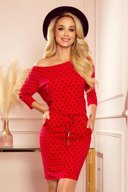 Numoco  sukienka z dekoltem w łódkę M84043 Платье Красный оптом