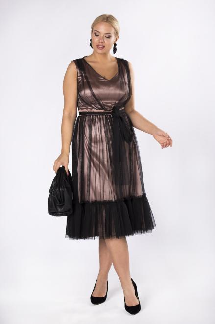 VEGAS  tiulowa sukienka z falbanami M81603 Платье Черный оптом
