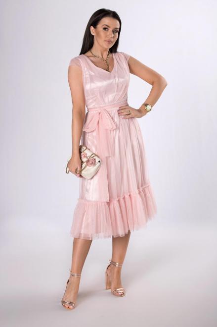 VEGAS  tiulowa sukienka z falbanami M81603 Платье Розовый оптом