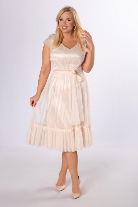 VEGAS  tiulowa sukienka z falbanami M81603 Платье Кремовый оптом
