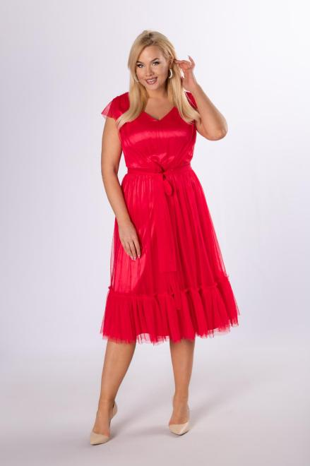 VEGAS  tiulowa sukienka z falbanami M81603 Платье Красный оптом