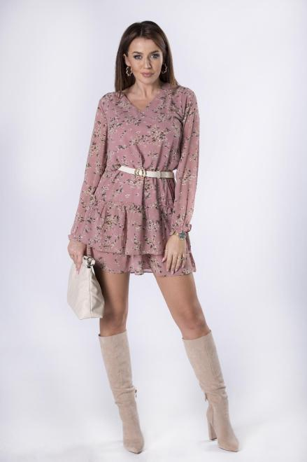 Merribel  szyfonowa sukienka z falbanami M81340 Платье Розовый оптом