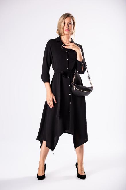 BODOO  sukienka szmizjerka z wiązaniem  i wydłużonymi bokami M81169 Платье Черный оптом