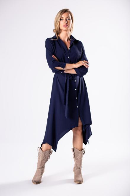 BODOO  sukienka szmizjerka z wiązaniem  i wydłużonymi bokami M81169 Платье Темносиний оптом