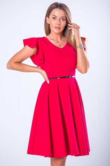 DARTEX  koktajlowa sukienka z falbankami na rękawach M73258 Платье Красный оптом