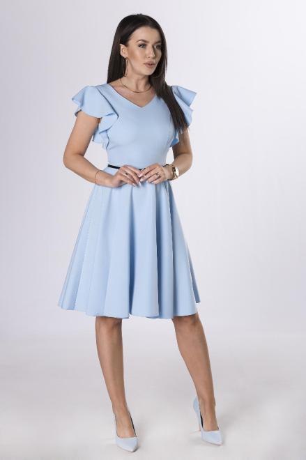 DARTEX  koktajlowa sukienka z falbankami na rękawach M73258 Платье Голубой оптом