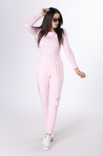 LA PERLA  prążkowany komplet z bluzką crop top M84049 Регулар Розовый оптом