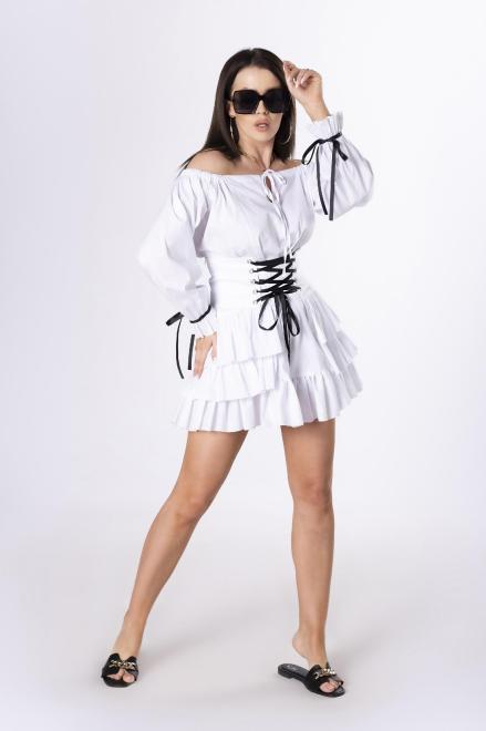 LA PERLA  sukienka hiszpanka ze sznurowanym pasem M84051 Платье Белый оптом