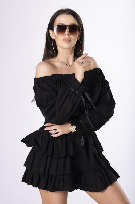 LA PERLA  sukienka hiszpanka ze sznurowanym pasem M84051 Платье Черный оптом