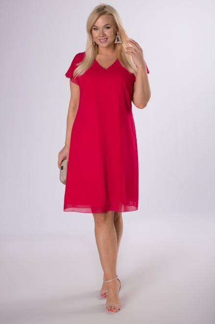 KMX FASHION  szyfonowa sukienka z falbankami M83719 Платье Красный оптом