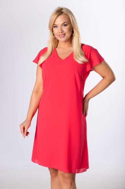 KMX FASHION  szyfonowa sukienka z falbankami M83719 Платье Розовый оптом