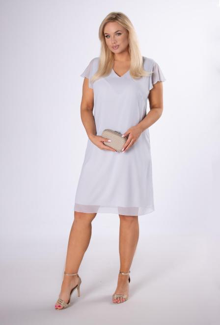KMX FASHION  szyfonowa sukienka z falbankami M83719 Платье Серый оптом