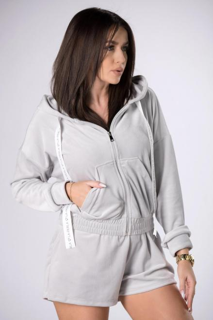 LA PERLA  welurowy dres z szortami M84094 Трикотажные брюки Серый оптом