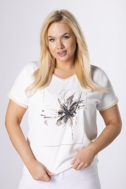 LUIZA  bluzka z nadrukiem M84099 Блузка Кремовый оптом