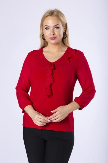 BOG-MAR  dopasowana bluzka z falbankami i szyfonowymi rękawami M82532 Блузка Красный оптом