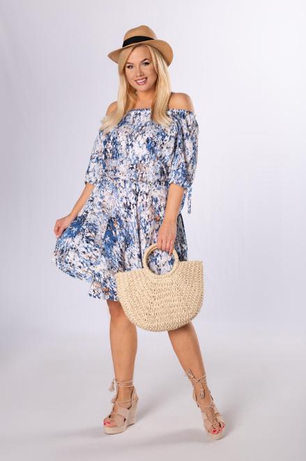 DOMINO STYL  sukienka z hiszpańskim dekoltem M84048 Платье Multikolor оптом
